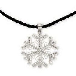 14K White Gold Large Snowflake Pendant