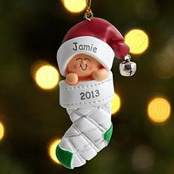 Personalized New Baby in Stocking Ornament
