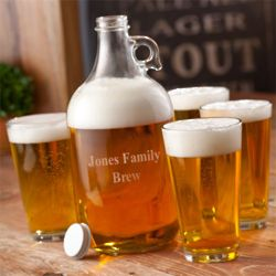 Engraved Growler and Pint Glass Set