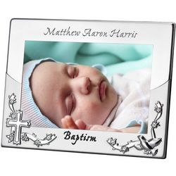 Silver Cross Personalized Baptism Picture Frame