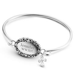 Personalized Expressions Oval and Cross Bangle