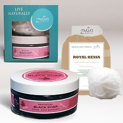 Lover's Rose Moroccan Black Soap and Kessa Exfoliating Treatment
