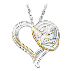 Messenger from Heaven Remembrance Butterfly Heart Pendant