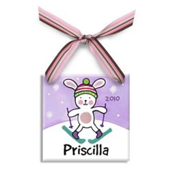 Girl's Personalized Snow Bunny Christmas Ornament