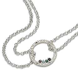 Sterling Silver Mother's Diamond Birthstone Circle Bracelet