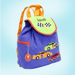 Big Brother Personalized Quilted Race Car Backpack