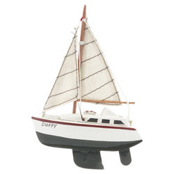 Wooden Sailboat with Green Hull Personalized Christmas Ornament
