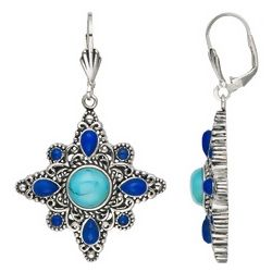 Turquoise and Lapis Sterling Silver Earrings