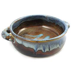 Handmade Stoneware Pottery Baker in Earthy Blue