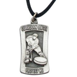 "Engraved Hockey ""Protect Me"" Pendant Necklace"