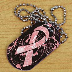 Breast Cancer Awareness Ribbon Dog Tag