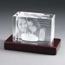 Landscape Photo Crystal with Rosewood Base