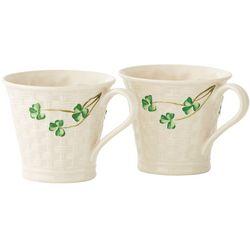 Belleek Shamrock Basketweave Mugs