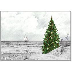 Beach & Sailboat Christmas Card