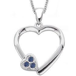 Sterling Silver Birthstone Heart Pendant