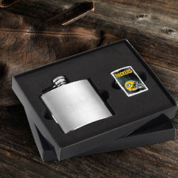 Personalized Brushed Flask and NFL Zippo Lighter Set