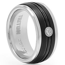 Tungsten Carbide and Diamond Wedding Band