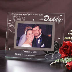 Engraved Glass Father of the Bride Picture Frame