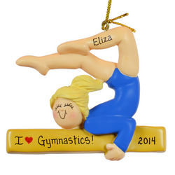Blonde Gymnast in Blue Leotard Balance Beam Ornament