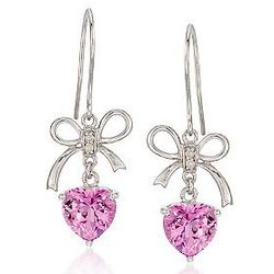 Pink Topaz Heart Earrings with Diamonds