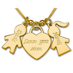 Gold-Plated Love You Mom Heart Charm Pendant