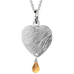 Sterling Silver Heart and Citrine Briolette Pendant