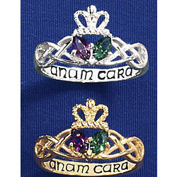 Birthstone and Claddagh Someone Special Marquise Ring