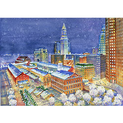 Quincy Market Winter Evening Christmas Cards
