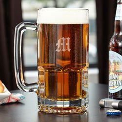 Colossal Engraved Initial Beer Mug