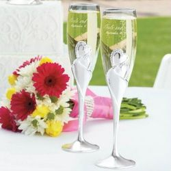 Twin Hearts Toasting Flutes