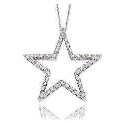 14K White Gold 1/3 Ct Diamond Open Star Pendant Necklace