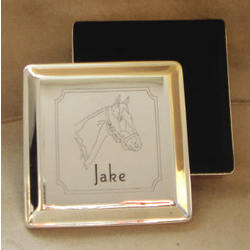 Personalized Silver Plate Horse Head Square Keepsake Box