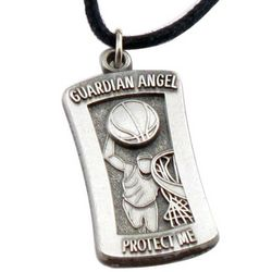 "Engraved Basketball ""Protect Me"" Pendant Necklace"
