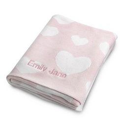Pink Heart Knit Blanket