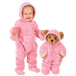 """15"""" Hoodie-Footie Teddy Bear and Baby Pink Hoodie-Footie"""