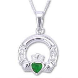 Sterling Silver Claddagh Pendant with Emerald
