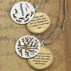 Two-Tone Double Disc Footprints or Love Tree Pendant