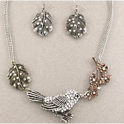 French Style Bird and Leaf Choker Style Necklace
