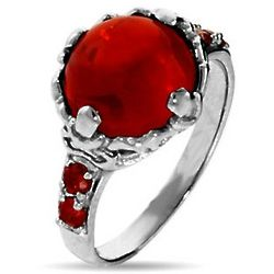 Sorcerer's Magical Red Crystal Sterling Silver Ring