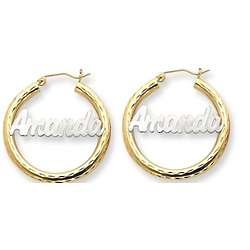 Two Tone Gold Name Plate Hoop Earrings