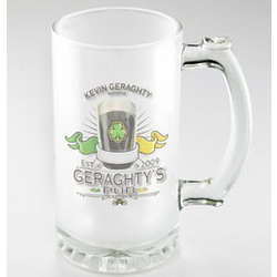 Personalized Irish Pub Design Frosted Beer Mug