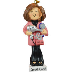 Personalized Brunette Female Hairstylist Ornament