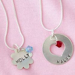 Personalized Girl's Flower or Heart Birthstone Necklace