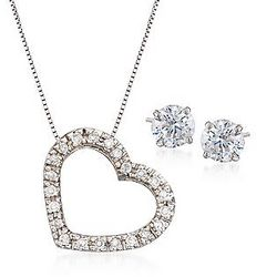 Cubic Zirconia Stud Earrings and Heart Necklace
