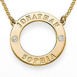 Personalized Gold-Plated Karma Necklace with Crystals