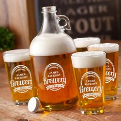 Personalized Brewery Growler and Pint Glass Set