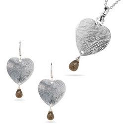 Sterling Silver Heart and Smokey Quartz Jewelry Ensemble