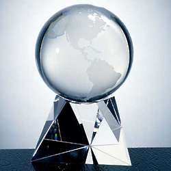 World Globe Crystal Award with Triangle Base