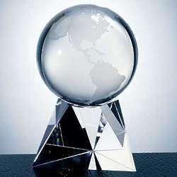 World Globe Crystal Award with Triangle Base