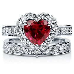 Heart Cut Ruby Sterling Silver Halo Bridal Ring Set